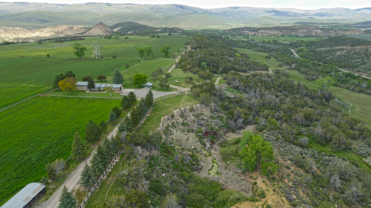 Aerial view of Shadow Mesa Ranch for sale in Cedaredge, CO